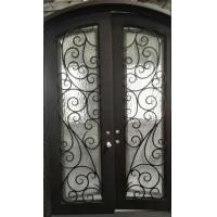 China Finished Surface Arched Top Wrought Iron Door Front Entry Door With Rain Tempered Glass For  House on sale