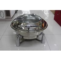 Food Pan Hydraulic Round Chafing Dish With Glass Window / Mechanical Hinge Lid Dia.36cm 6.8Ltr Manufactures