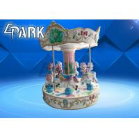 6 People Horses Carousel Kiddie Ride Coin Operated With Gorgeous Lighting Manufactures