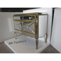 Quality American Style Mirrored Night Stands Table With 2 Doors Beveled Edge Mirror for sale