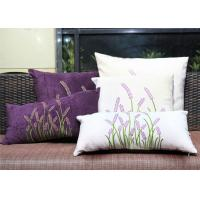 Velvet Lavender Decorative Cushion Covers Embroidered Sofa Pillow Covers Manufactures