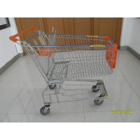 150L Metal Wire Shopping Trolley , Swivel TPE Casters Supermarket Shopping Trolley