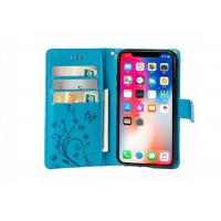 China Butterfly Pattern Wallet Leather Case Blue / iPhone 8 Plus Leather Wallet Case on sale