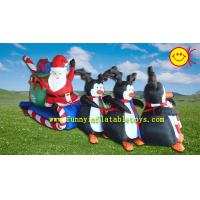Christamas Events Advertising Inflatable Santa Claus ,  Polyester Cloth Holiday Inflatables Manufactures