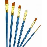Quality Wooden Handle Golden Synthetic Paint Brush Sets , Interlocked Fine Bristle Paint Brushes for sale