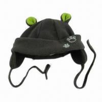 Baby Winter Hat with 3-D Ear Flaps, Made of Microfiber Fleece Fabric Manufactures