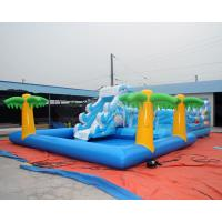 Sea world inflatable bouncy castle with water slide and palm tree swimming pool