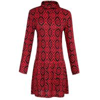 Geometrical black and red wool-like ladies casual long dress for Autumn Manufactures