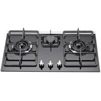 Kitchen Auto Ignition 3 Burner Gas Stove With Glass Top / Heavy Pan Support Manufactures