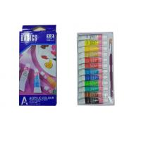 Strong Adhesion Basics Colored Acrylic Paint Set , Artists Paint Pigments 12 X 6ml Tubes Manufactures
