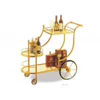 Big Wheel Room Service Equipments Wine Serving Cart Mirror - Gold Finish Fire - Proof Laminated Manufactures