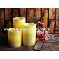 Beeswax Drip Flameless Pillar Candles with On / Off Button Remote Control LED Candle Manufactures