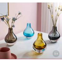 Brown Colored Glass Flower Vases / Bulb Type Glass Flower Vase Decoration Manufactures