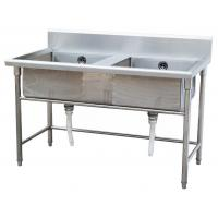 Quality Silver Stainless Steel Double Compartment Sink 1.2mm For Restaurant With MDF for sale