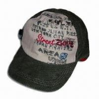Men's Cap with 5-panel and Screen Printing, Made of Canvas and Corduroy Fabric Manufactures