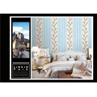 Buy cheap Light Blue Vintage Striped Wallpaper / Embossed Wall Coverings Home Decor from wholesalers
