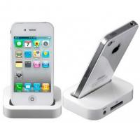 Plastic White Cell Phone Accesories Charger Dock For iPhone 4 / 4S Manufactures