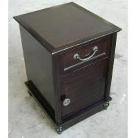 Buy cheap HPL Top Dark Wood Nightstand With Drawers , Narrow Bedside Table Night Stand from wholesalers