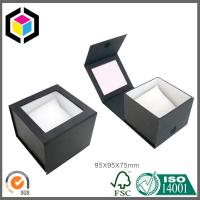 Velcro Close Black Color Watch Paper Gift Box with Pillow Shape Foam Clear Window Manufactures