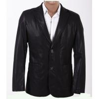 Two Side Pockets  Black, Fashionable and Handsome Mens PU Leather Blazers Manufactures
