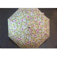 Manual Open Transparent 3 Fold Umbrella Pink Flower Printed 21 Inch 8 Ribs Manufactures