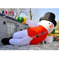 7 M Lying Blow Up Snowman ,Inflatable Christmas Decorations Man With Led Light Manufactures