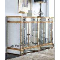 Fashion Mirrored Side Board Gold Wooden Trimming Finish Beveled Edge Manufactures