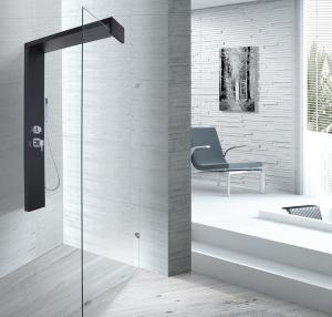 Quality Black Shower Column 1500 X 900 Shower Enclosure With Double Clip SS Flexible Hose for sale