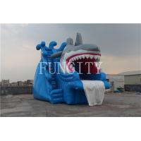Shark Theme Blue Inflatable Dry Slide For Inflatable Water Park Games EN14960 Manufactures