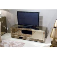 Popular Hotel Mirrored Glass TV Cabinet , Black Mirrored Corner TV Cabinet Manufactures