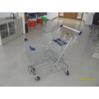 Low Tray 100L Supermarket Shopping Trolley European Steel With Blue Baby Seat Manufactures