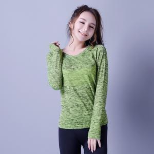 Casual sportswear, seamless sports shirt, green & black, knitwear, Long sleeve, XLLS009, woman T-shirts, Manufactures