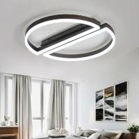 Buy cheap Acrylic Led Ceiling lights with remote control for Living room Bedroom plafonnier led Black White Led Ceiling lamp from wholesalers