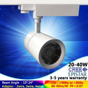 AC230V 2700K-6500K 15W-40W black/white LED track light with 12°15°24° lens in shop spotlight Manufactures