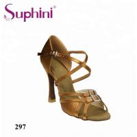 China Suphini Classical X Strap Double Buckle Satin Latin Salsa Ballroom Dance Shoes For Women on sale