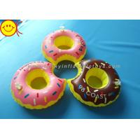 Quality PVC Inflatable Water Floats Food Floating Donut Inflatable Drink Holder / Cup Holder for sale