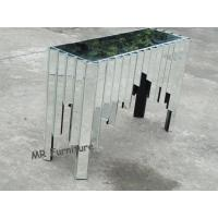 Quality Comb Design Mirrored Console Table For Living Room Glass Mirror Finish for sale