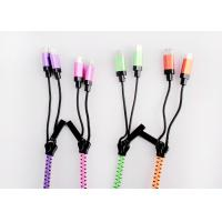 1m Flat Zipper Multifunction USB Cable With Metal Shell Micro USB / 8pin Manufactures