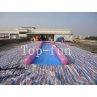 0.9mm PVC Tarpaulin Inflatable Big Air Slide / Circle / Blob For Water Purple or Blue Manufactures