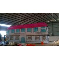 Red Inflatable Fun House Double - Line Three Synchronization Sewed Manufactures