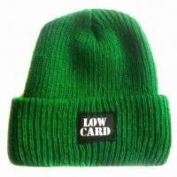 Women's Loose Knitted Hat/Beanie, Made of Acrylic, Various Designs are Available Manufactures