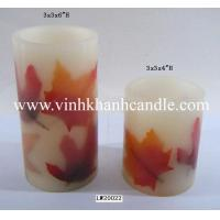 pillar electric candle with dried leaf-LW20022 Manufactures