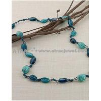 Dark blue imitation stone knotted long necklace Manufactures