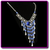 Peruvian Chandelier Necklace Blue Murano Glass Manufactures