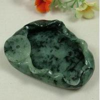 Dark Green Jadeite Jade Chinese Carving Paper Weight or Ash Tray