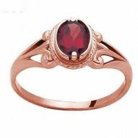 China Antique Style Garnet 9ct 9k Solid Rose Gold Ring Size P 7.75 R21673/GT on sale