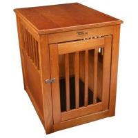 Dynamic Accents Wood Dog Crate End Table in Burnished Oak Finish 52168 Manufactures