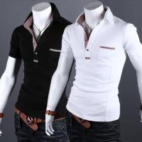 YW Plaid Jointing Lapel Short Sleeve Slim Mens Polo Shirt Manufactures