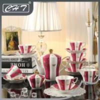 15pcs bone china coffee cup set with gold rim and decal for home using Manufactures