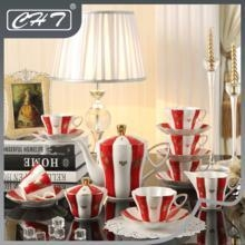 Quality 15pcs fine porcelain tea set for tea house with gift box gold rim and handle for sale